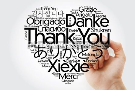 Business: Thank You Love Heart Word Cloud in different languages with mark #14829