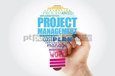 Business: Project Management light bulb word cloud collage business conce #14830
