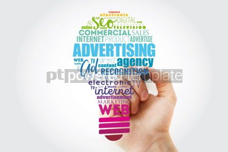 Business: ADVERTISING light bulb word cloud creative business concept bac #14837