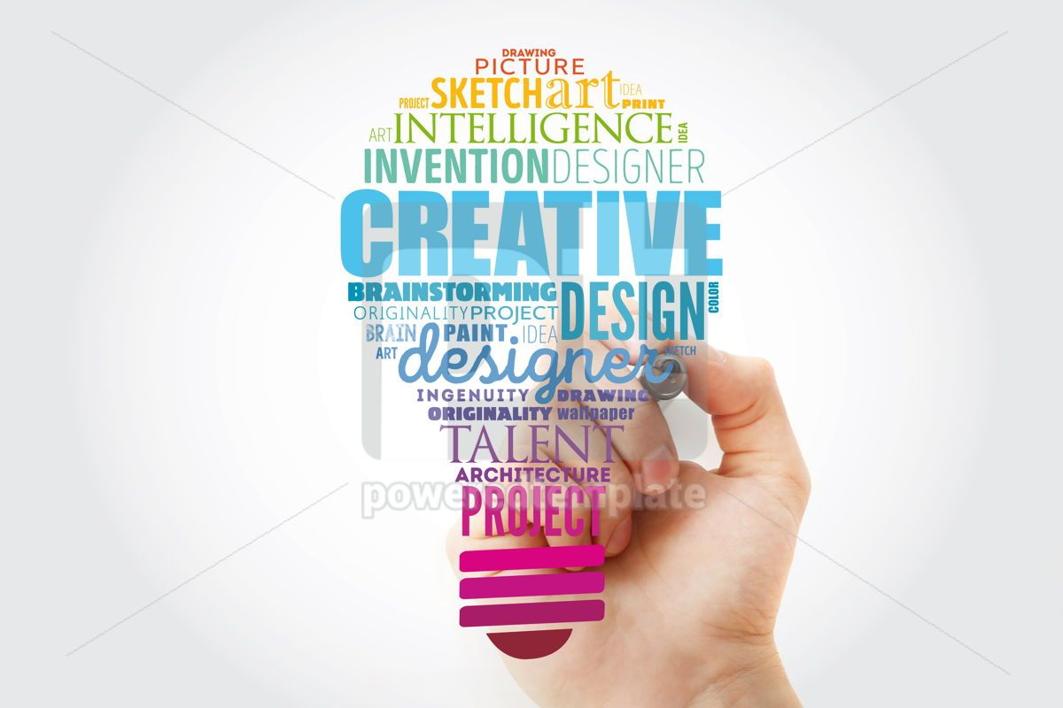 CREATIVE light bulb word cloud creative business concept backgr, 14838, Business — PoweredTemplate.com