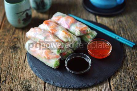 Food & Drink: Rice spring rolls - rice paper carrots watermelon radish #14851