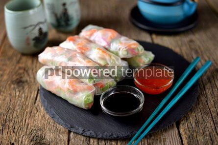 Food & Drink: Rice spring rolls - rice paper carrots watermelon radish #14852