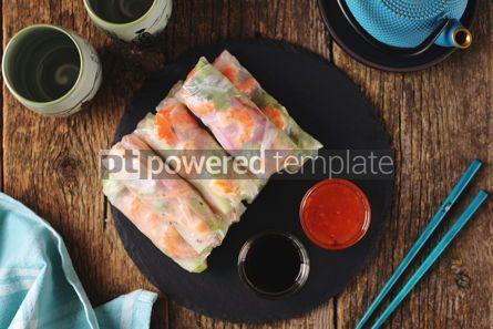 Food & Drink: Rice spring rolls - rice paper carrots watermelon radish #14853