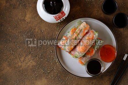 Food & Drink: Fried rice spring rolls - rice paper carrots watermelon radish #14854
