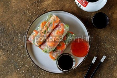 Food & Drink: Fried rice spring rolls - rice paper carrots watermelon radish #14855