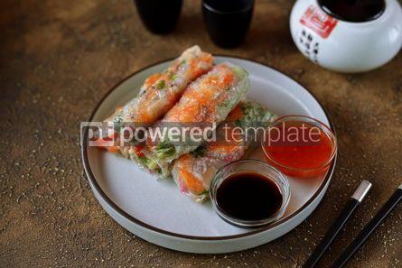 Food & Drink: Fried rice spring rolls - rice paper carrots watermelon radish #14856