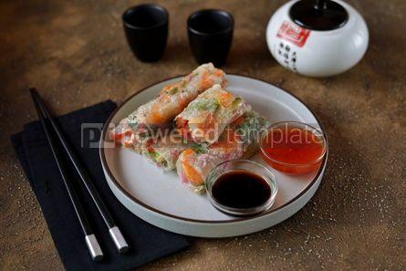 Food & Drink: Fried rice spring rolls - rice paper carrots watermelon radish #14857