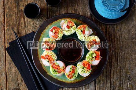 Food & Drink: Rice spring rolls - rice paper carrots watermelon radish #14858