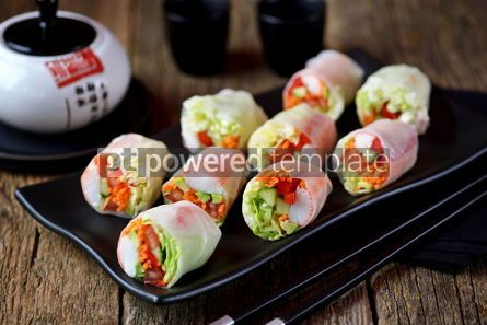 Food & Drink: Rice spring rolls - rice paper carrots watermelon radish #14859