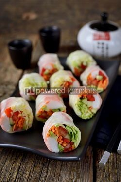 Food & Drink: Rice spring rolls - rice paper carrots watermelon radish #14860
