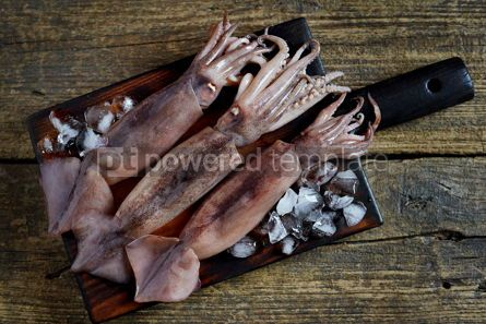 Food & Drink: Fresh raw whole squids on an old wooden background Rustic style Top view #14862