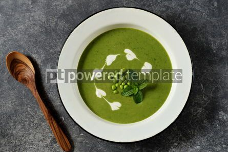 Food & Drink: Creamy green pea soup with fresh mint Healthly food #14909
