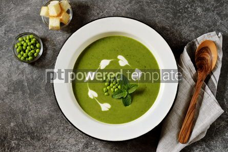 Food & Drink: Creamy green pea soup with fresh mint Healthly food #14910