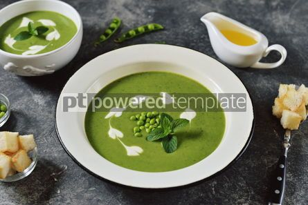 Food & Drink: Creamy green pea soup with fresh mint Healthly food #14911