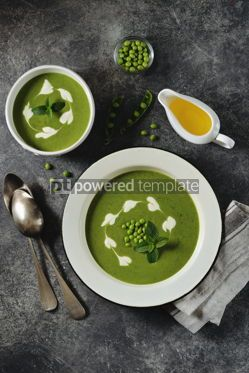 Food & Drink: Creamy green pea soup with fresh mint Healthly food #14913