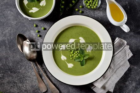 Food & Drink: Creamy green pea soup with fresh mint Healthly food #14914