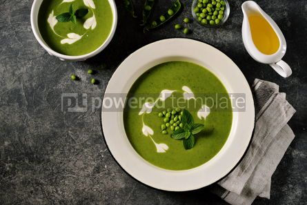 Food & Drink: Creamy green pea soup with fresh mint Healthly food #14915