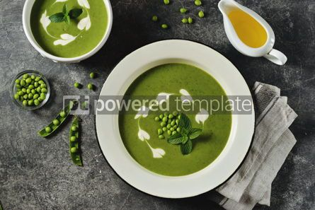 Food & Drink: Creamy green pea soup with fresh mint Healthly food #14916