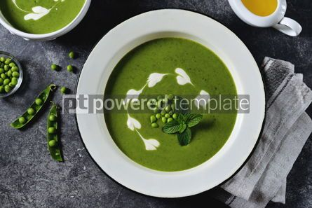 Food & Drink: Creamy green pea soup with fresh mint Healthly food #14917