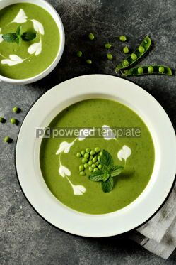 Food & Drink: Creamy green pea soup with fresh mint Healthly food #14918