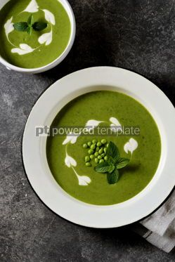 Food & Drink: Creamy green pea soup with fresh mint Healthly food #14919