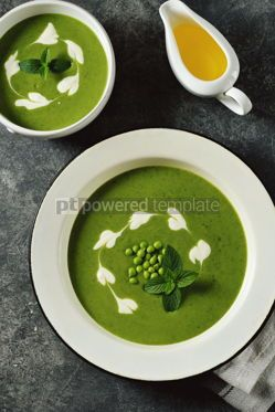 Food & Drink: Creamy green pea soup with fresh mint Healthly food #14920
