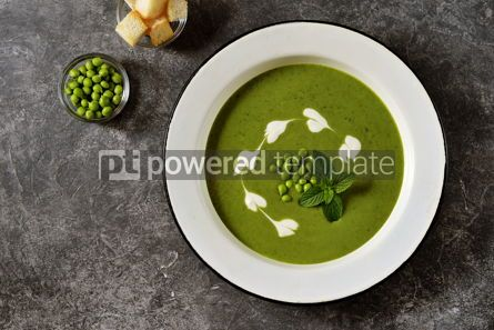 Food & Drink: Creamy green pea soup with fresh mint Healthly food #14921