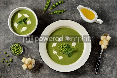 Food & Drink: Creamy green pea soup with fresh mint Healthly food #14922