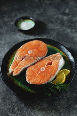Food & Drink: Two fresh raw salmon steaks on a gray concrete background Healthy food #14969