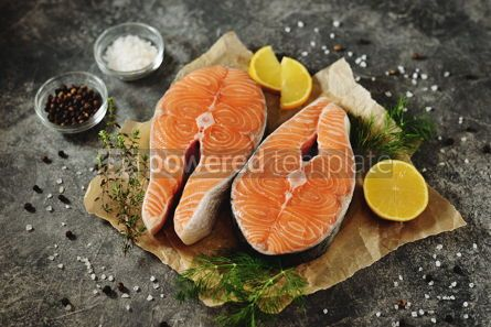 Food & Drink: Two fresh raw salmon steaks on a gray concrete background Healthy food #14972