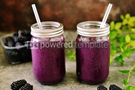 Food & Drink: Healthy blackberry organic smoothie with natural yogurt and honey in a glass jar #15029