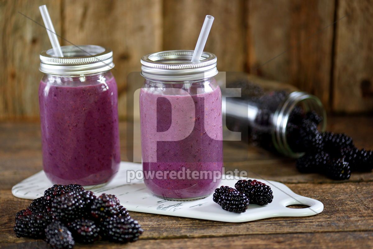 Healthy blackberry organic smoothie with natural yogurt and honey in a glass jar, 15031, Food & Drink — PoweredTemplate.com