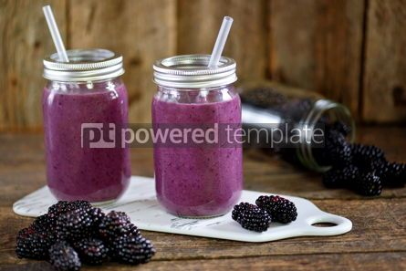 Food & Drink: Healthy blackberry organic smoothie with natural yogurt and honey in a glass jar #15031