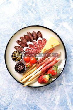 Food & Drink: Antipasti snacks - sausage homemade grissini with jamon #15101