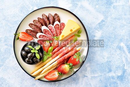 Food & Drink: Antipasti snacks - sausage homemade grissini with jamon #15103