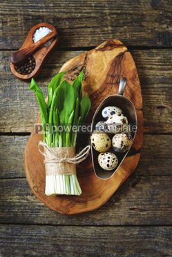 Food & Drink: Ingredients for healthy salad - ramson wild garlic and quail eggs on a wooden background #15109