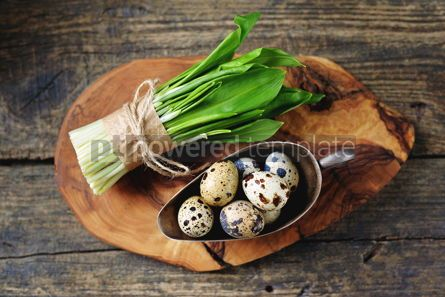 Food & Drink: Ingredients for healthy salad - ramson wild garlic and quail eggs on a wooden background #15110