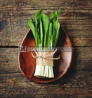 Food & Drink: ramson wild garlic on a wooden background #15111