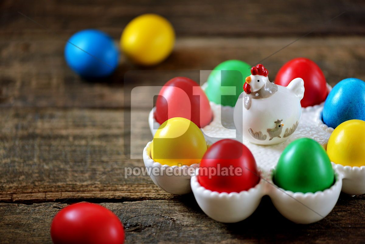 Traditional Easter food - Easter eggs on an old wooden table Easter background, 15170, Food & Drink — PoweredTemplate.com