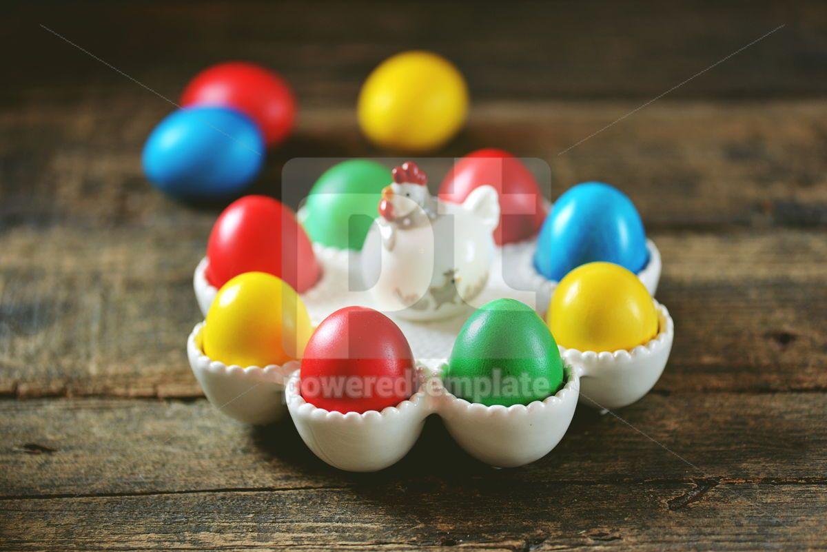 Traditional Easter food - Easter eggs on an old wooden table Easter background, 15171, Food & Drink — PoweredTemplate.com