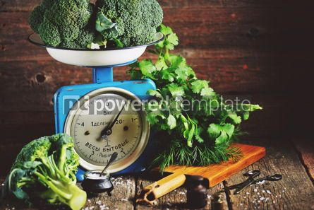 Food & Drink: Healthy organic vegetables on old Soviet mechanical scales #15181