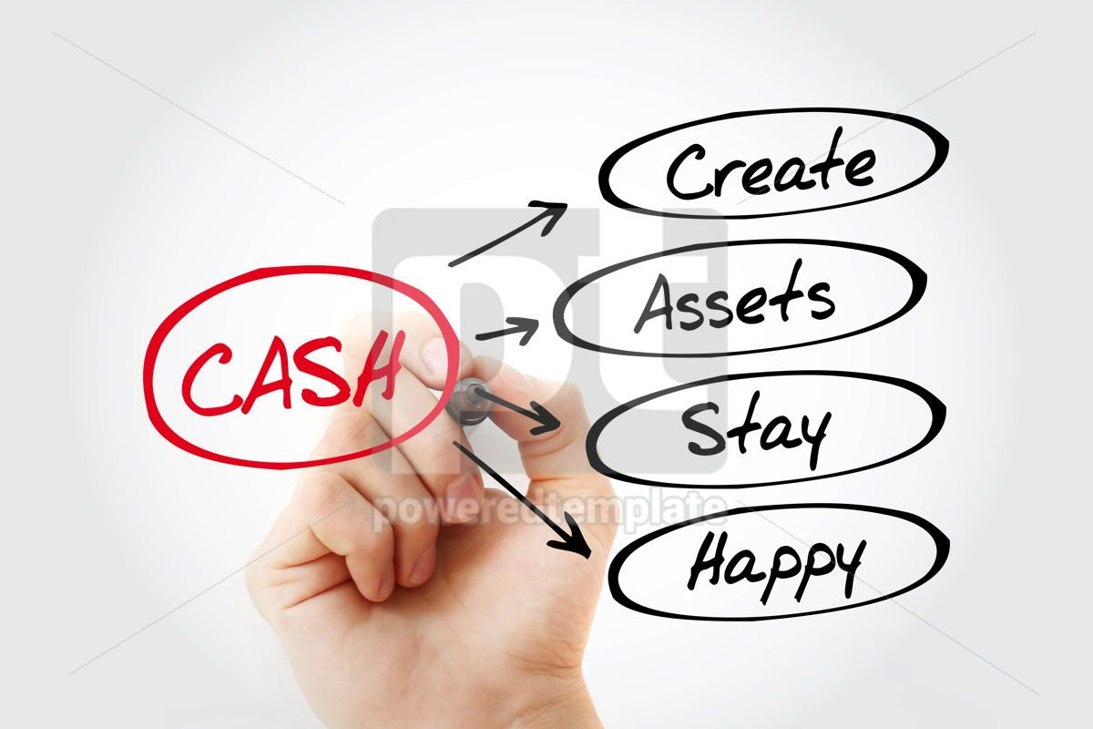 CASH - Create Assets Stay Happy acronym, 15283, Business — PoweredTemplate.com