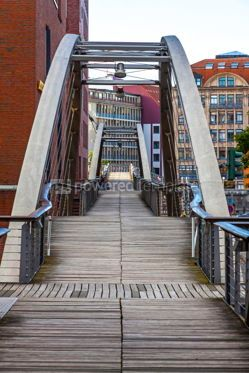 Arts & Entertainment: Kibbelsteg bridge in Speicherstadt district in Hamburg Germany #15324