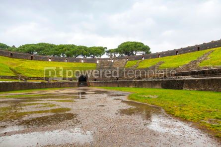 Arts & Entertainment: Amphitheatre in ancient Roman city of Pompei Italy #15326