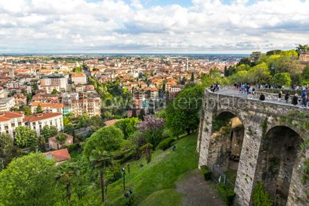 Arts & Entertainment: Aerial panoramic view of Bergamo city Lombardy Italy #15329