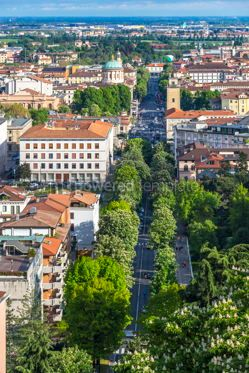 Architecture : Aerial panoramic view of Bergamo city Lombardy Italy #15351