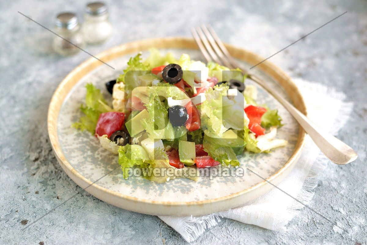 Healthy salad of lettuce tomato red pepper soft cheese olives and avocado, 15367, Food & Drink — PoweredTemplate.com