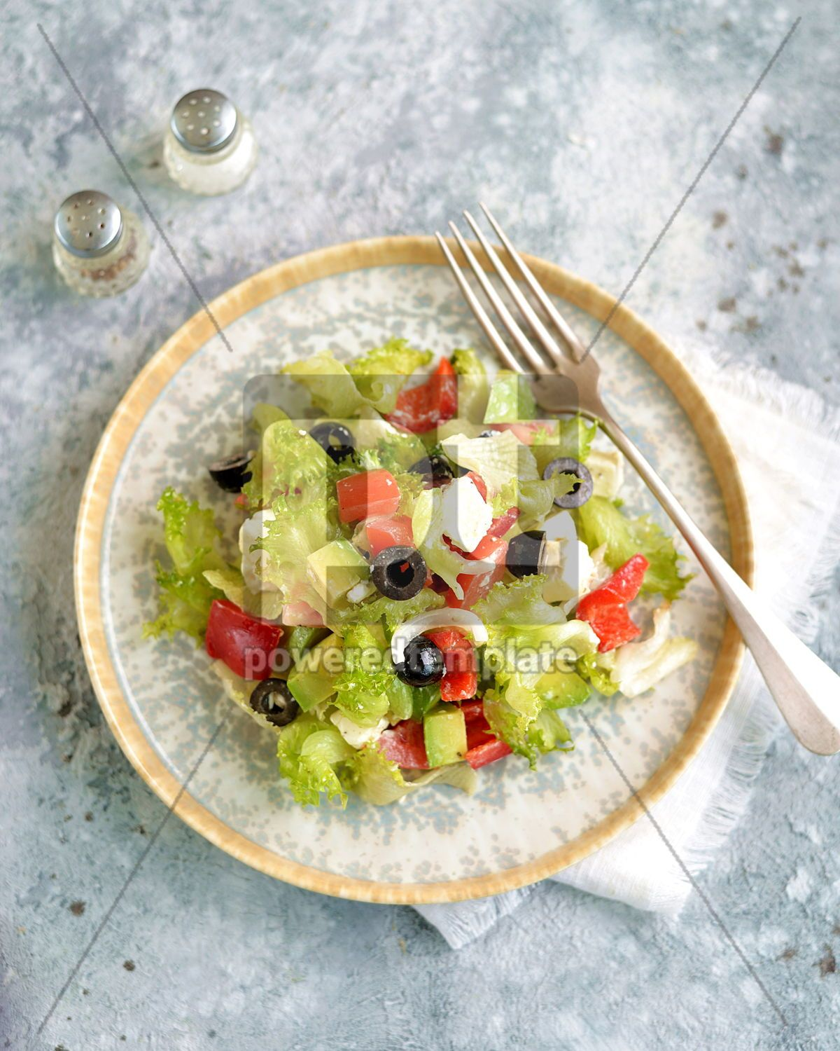 Healthy salad of lettuce tomato red pepper soft cheese olives and avocado, 15368, Food & Drink — PoweredTemplate.com