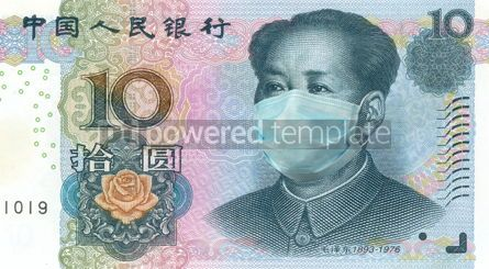 Business: Mao Zedong from 10 Yuan banknote wearing protective mask #15439