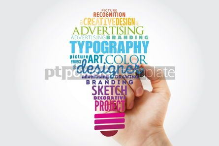 Business: TYPOGRAPHY light bulb word cloud collage creative business concept background #15460